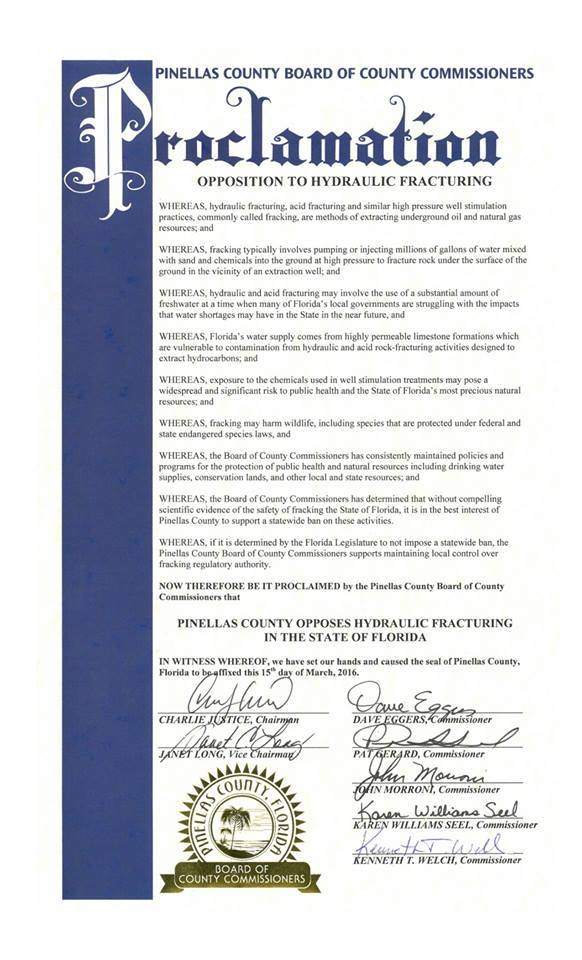 Pinellas Co. Anti-fracking Proclamation